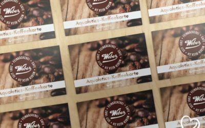 Aqualetics-Kaffeekarte von der Feinbäckerei Weber
